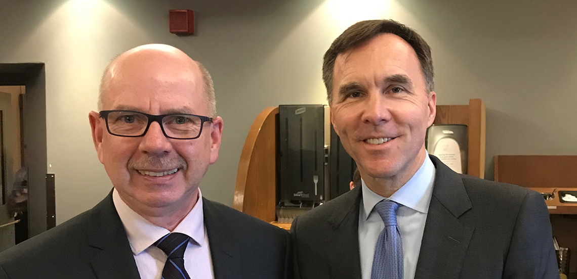 CADA Chairman Peter MacDonald and Finance Minister Bill Morneau