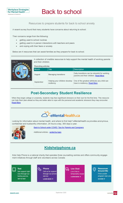 Back to school image of resources cover page