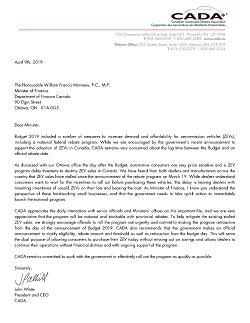 Letter to Minister of Finance re ZEV program
